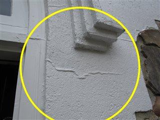 Damaged EFIS exterior finish.
