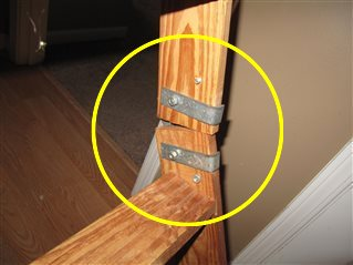 Improperly installed pull down stairs for the attic.