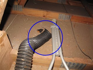 One or more exhaust fan ducts in the attic were not attached.